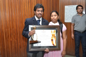Along with my sweetheart with Trophy and Certificate