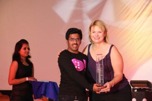 Receiving Yahoo! Ratna Award 2010 from Ms. Carol Bartz, CEO, Yahoo! Inc