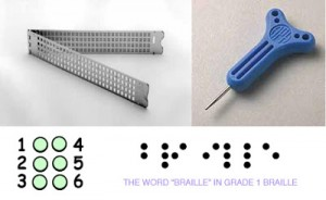 "Pocket Size Braille Slate, Stylus, view of dots and ""Braille"" in Braille script"