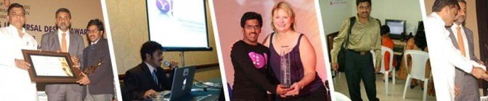 Srinivasu at Speaking, receiving award and with Hema