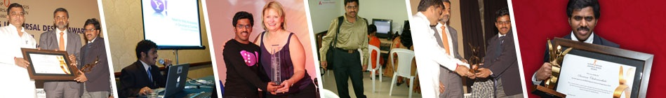 Banner consist of a few of images where Srinivasu is receiving an award, speaking at an event etc.,